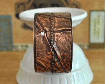 Fold Formed and Distressed Copper Cuff