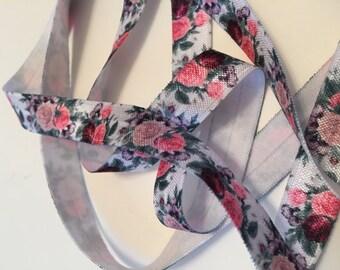 FOE/Rose Printed Elastic/Rose FOE/Girl's Headband FOE/Fold Over Elastic/Rose Elastic/Headband Elastic/English Roses Elastic/Elastic Headband