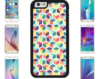 3D Square Cube Multicolored Cover Case for Apple iPhone 7 7 Plus 6 6S Plus Samsung Galaxy S7 Edge S6 Plus Note 5 7 8 9 10 att sprint verizon