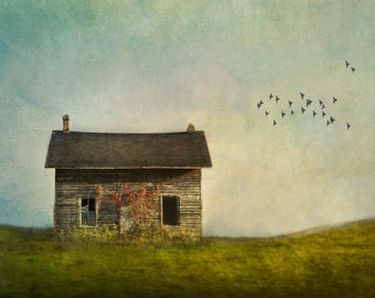 Abandoned House, Fine Art Print, Rural Landscape Photography, blue and green, country, rural art print, Fine Art Photography,