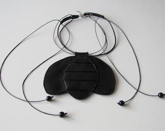 Black Tulip Necklace /Macrame / Cashmere+Leather Necklace / Gift Idea by FabraModaStudio /A911