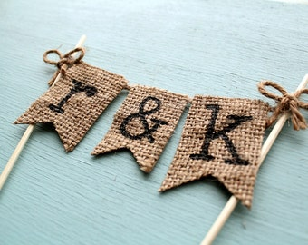 Personalized Cake Topper, Rustic Country Wedding Cake Topper, Rustic Cake Topper, Barn Wedding Cake Topper, Burlap Banner Cake Topper