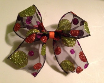 Polka dotted cheer bow