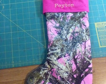 Pink realtree camouflage  Christmas stocking  I will put your name on it .