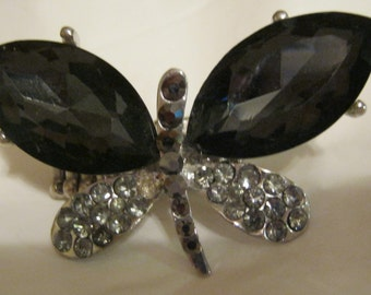 Vintage black and silver tone butterfly