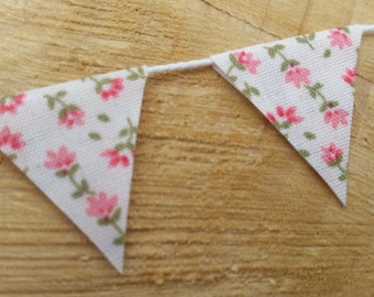 Fairy Door Bunting Miniature Handmade Flower Fabric