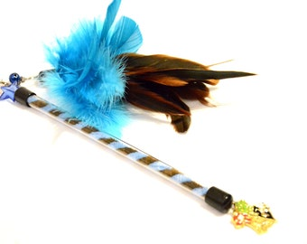 Cat Toy (duster) Harry Potter, Ravenclaw house (blue, brown, Hogwarts crest, size choice)