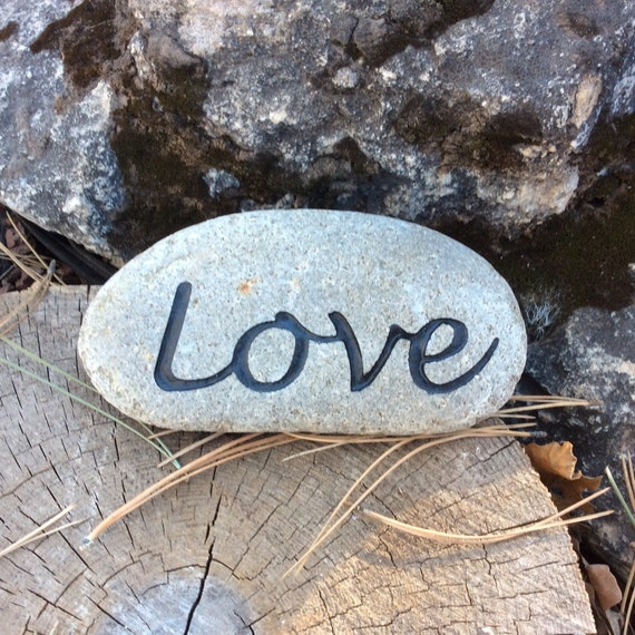 Landscape Rock With Engraving : Engraved love rock black hills river garden art