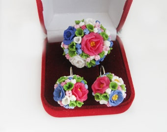 jewelry set with flowers, earrings and ring