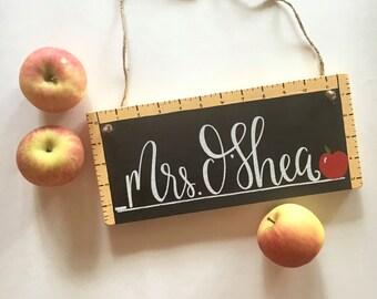 Teacher Door Sign - Wood Sign | Custom Wood Sign | Classroom Sign | School Sign | Teacher Sign | Teacher Name Sign | Back to School | Apples