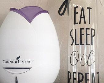 Eat, Sleep, Oil, Repeat glass water bottle