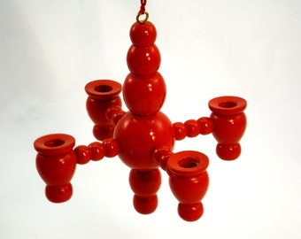 Christmas Candle Holder, Hanging Red Wooden Christmas Chandelier, Traditional Scandinavian Holiday Home Decor, 1960s Vintage Sweden Denmark