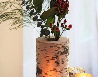 Birch Wood Log Vase, Rustic Vase