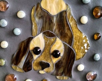 Puppy Stain Glass and Cement Garden Stone
