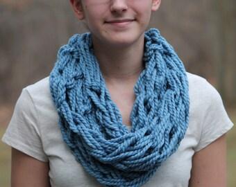 Light Blue Knit Infinity Scarf