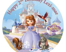 """Sofia The First 7.5"""" Edible Birthday Cake Topper Decoration Personalised"""