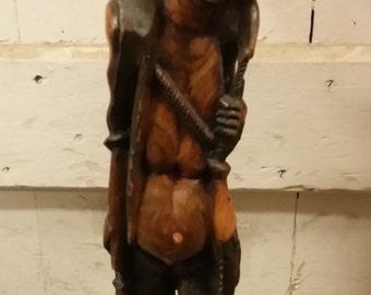 Original Malawi African Hand Carved Dark Wood Folk Art Fisherman Sculpture