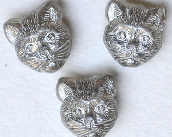 11mm Cat Bead with Horizontal Hole - Czech Glass Cat Beads - Cat's Head Bead - Various Luster Colors - Qty 10