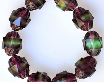 10mm x 8mm Fire Polished Glass Beads with Center Band - Czech Glass Beads - Various Bicolors - Qty 10