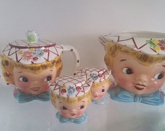 SALE Lefton, Norcrest, Little Miss Dainty Cookie Jar Tea Pot Salt and Pepper