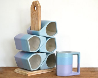 Rodolfo Padilla stacking mugs -- vintage set of six coffee cups with wooden stand, 12 oz stackable stoneware mugs, aqua blue violet, Mexico