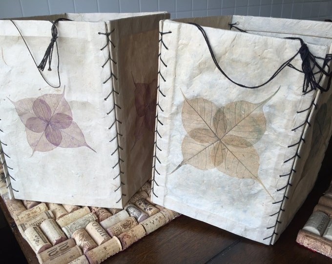 Free Shipping! Two Handmade Paper Lanterns, Real Leaf Motif and Recycled Paper Lanterns,