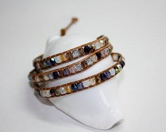 Handmade Chan Luu Style Leather Wrap Bracelet - Czech Firepolish Beads Multi Coloured