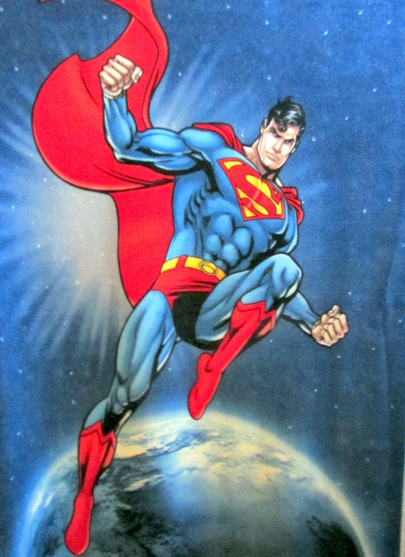 Fleece superman in space fabric panel 48x58 from for Spaceship fleece fabric
