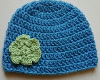 Blue Crochet Baby hat , Flower , handmade crochet , Size 3-6 Months