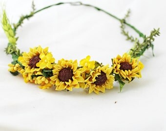 Sunflower,headpiece,headdress,crown,tiara,boho,chic,woodland,romantic,floral accesorie,bridal
