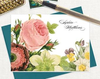 personalized stationery set - FLOWER BOUQUET - set of 8 folded note cards - stationary - pink rose - botanical - floral - flower