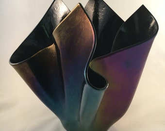 Black iridescent vase