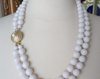 Vintage Two Strands Elegant White Old Plastic Beads Necklace.