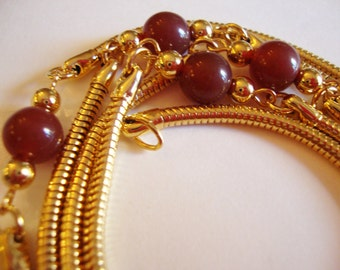 Vintage Gold Tone Snake Skin Linked Necklace with Carnelian Glass Beads.