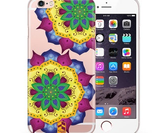 Clear Phone case for iPhone 4 4s 5 5s SE 6 6s 6 plus 6s plus TULLUN Designs Floral Mandala Design TD085