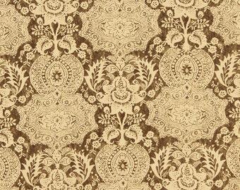 DESIGNER BATIK MEDALLION Linen Fabric 5 Yards Grey-Brown