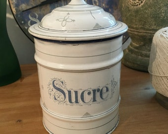 French Enamelware, blue & white storage jar for SUCRE