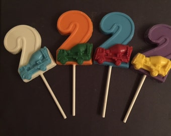 Number Two CEMENT TRUCK Chocolate Lollipop(12 qty)-Construction Birthday/Party Favor/Construction Favor/Boys Birthday/Truck Birthday/Trucks