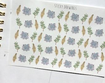 Succulent Flora Fauna Stickers