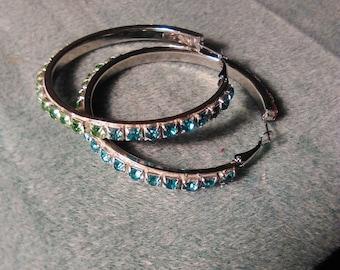 Multi-colored Rhinestone Hoop Earrings