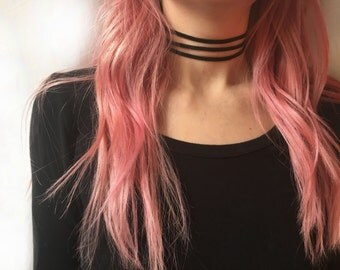 Discount/Vacation notice!Triple black suede leather choker necklace, suede choker, black choker, triple choker, wrap choker, strand choker