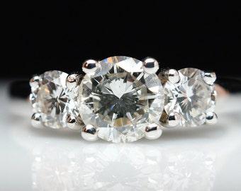 Three Stone Diamond Engagement Ring - 14k White Gold