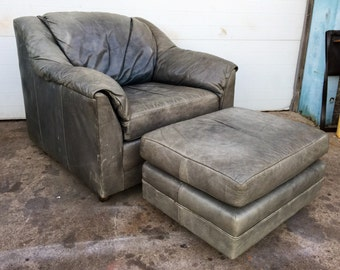 Distressed Vintage Leather Lounge Chair and Ottoman