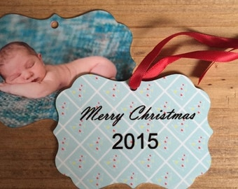 Personalized Christmas ornament , photo ornament , Christmas gift, 2 sided ornament