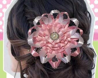 Rosette girly ribbon flower hair bow, hair clip, sparkle