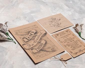 Vintage Song Lyric Invitation - Invite Suite sample