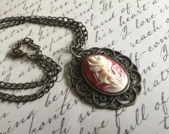 Cameo Pendant Necklace, Flower Cameo Necklace, Flower Cameo