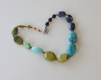 Blue and green multi-stone necklace