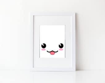 Cute little face nursery print, kids room, kawaii, Instant download