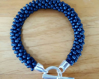 Blue bracelet, beaded bracelet, chunky bracelet, braided bracelet, chunky jewellery, gifts for her, blue jewellery, statement jewellery